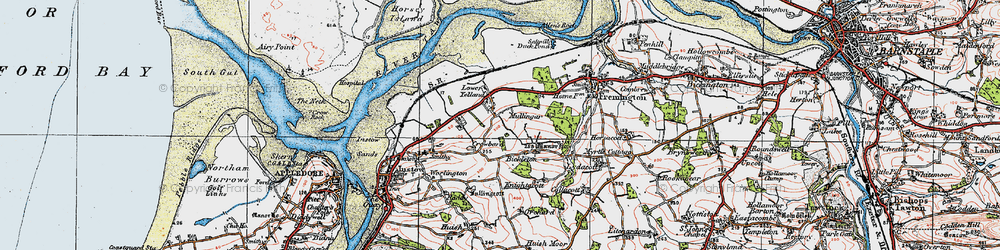 Old map of Yelland in 1919