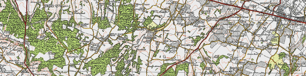 Old map of Yelsted in 1921