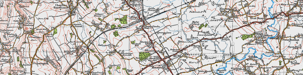 Old map of Yenston in 1919