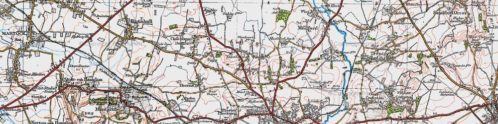 Old map of Yeovil Marsh in 1919
