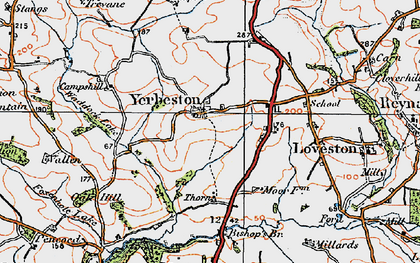 Old map of Yerbeston Mountain in 1922
