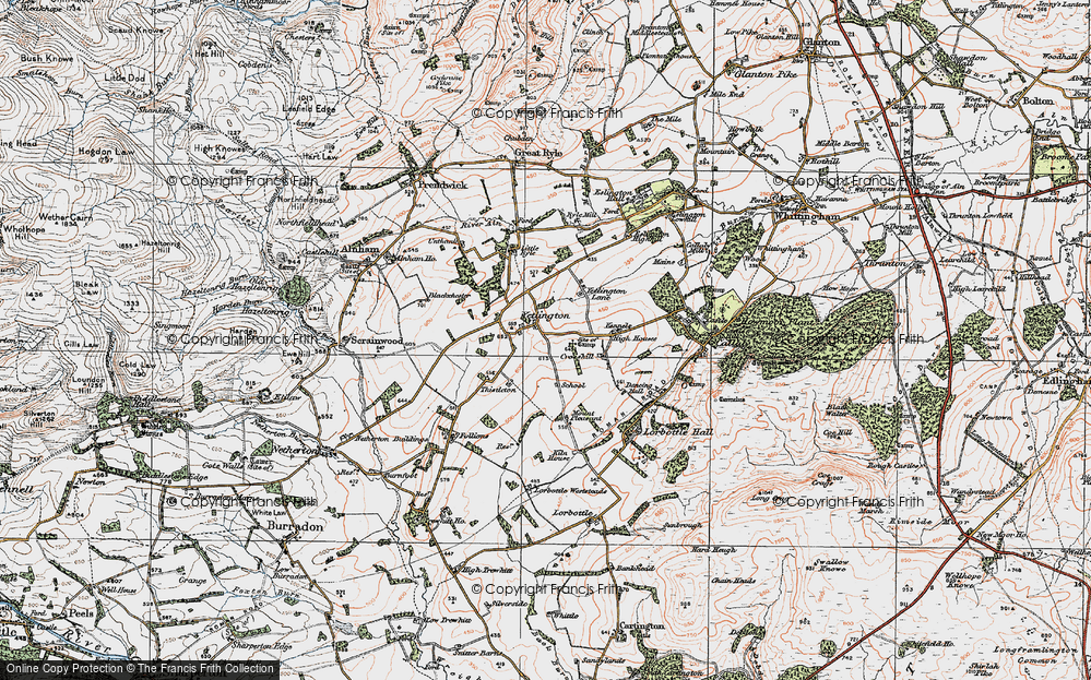 Old Map of Historic Map covering Tod-le-Moor in 1925