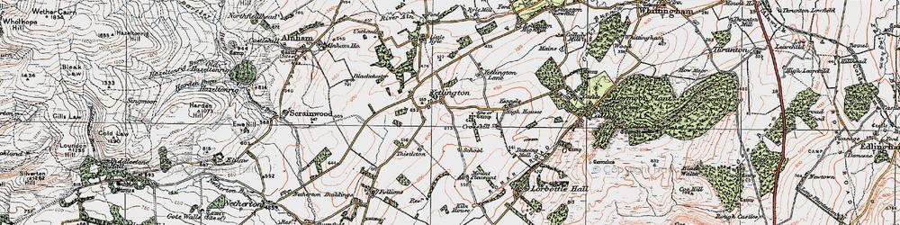 Old map of Yetlington Lane in 1925