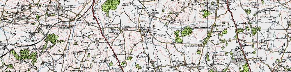 Old map of Yetminster in 1919