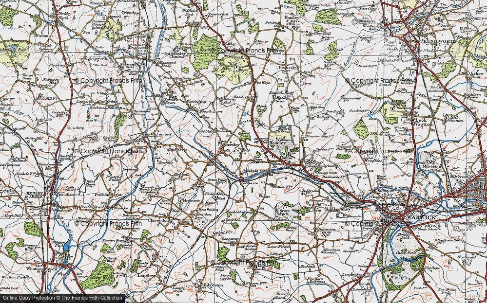 Old Map of Yew Green, 1919 in 1919