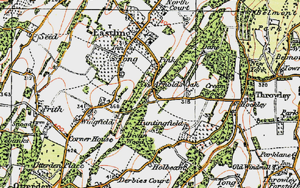 Old map of Yewhedges in 1921