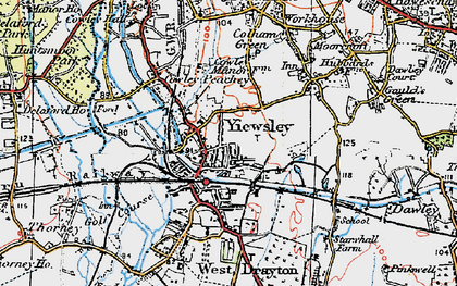 Old map of Yiewsley in 1920