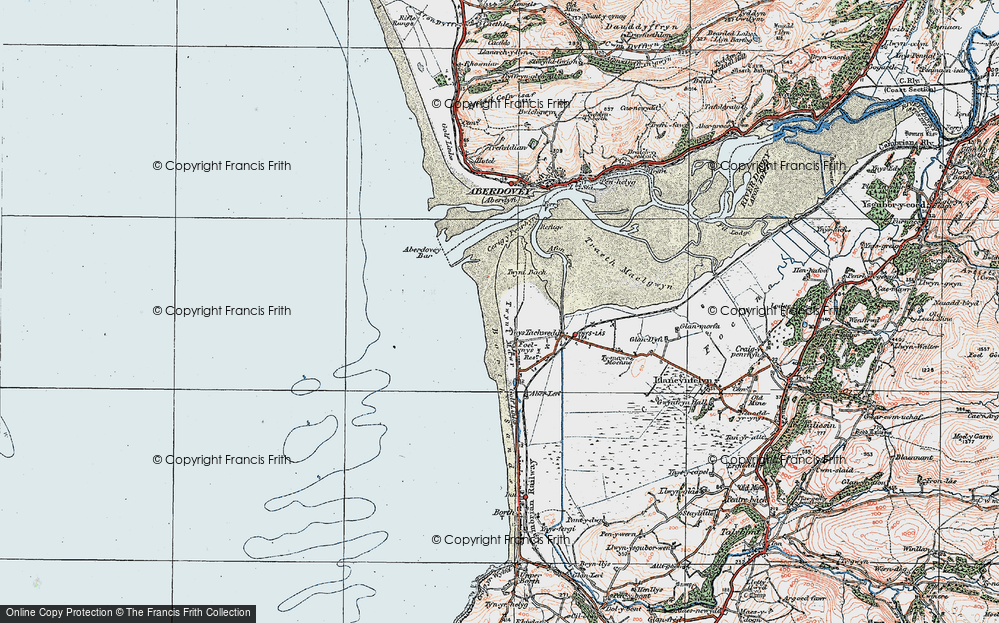 Old Map of Historic Map covering Aberdovey Bar in 1922