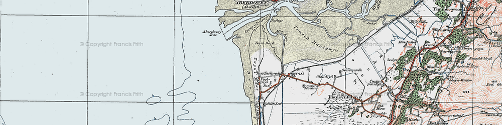 Old map of Aberdovey Bar in 1922