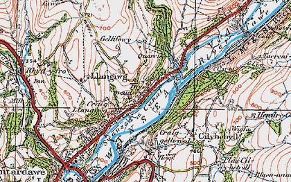 Old map of Ynysmeudwy in 1923
