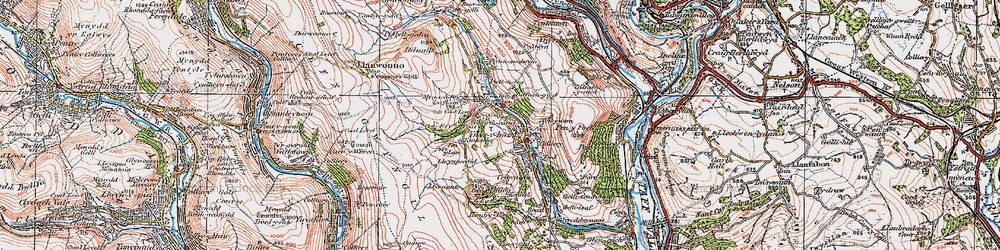 Old map of Y Ffrwd in 1923