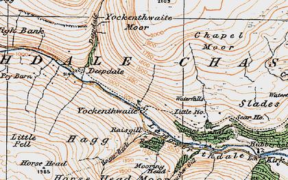 Old map of Yockenthwaite Moor in 1925