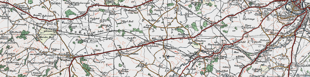 Old map of Yockleton in 1921