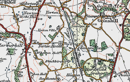Old map of Yorton Heath in 1921