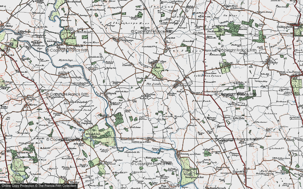 Old Map of Historic Map covering Linton Woods in 1924
