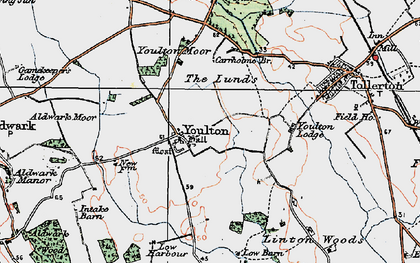 Old map of Youlton Moor in 1924