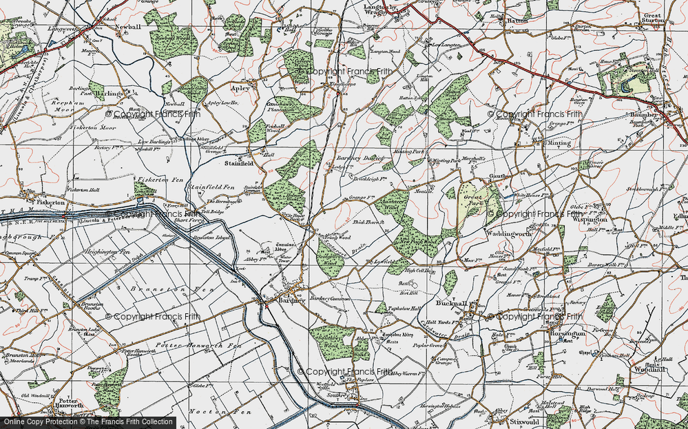 Old Map of Historic Map covering Austacre Wood in 1923