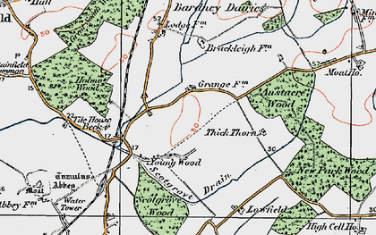 Old map of Austacre Wood in 1923