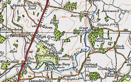 Old map of Youngsbury in 1919