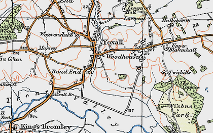Old map of Yoxall in 1921