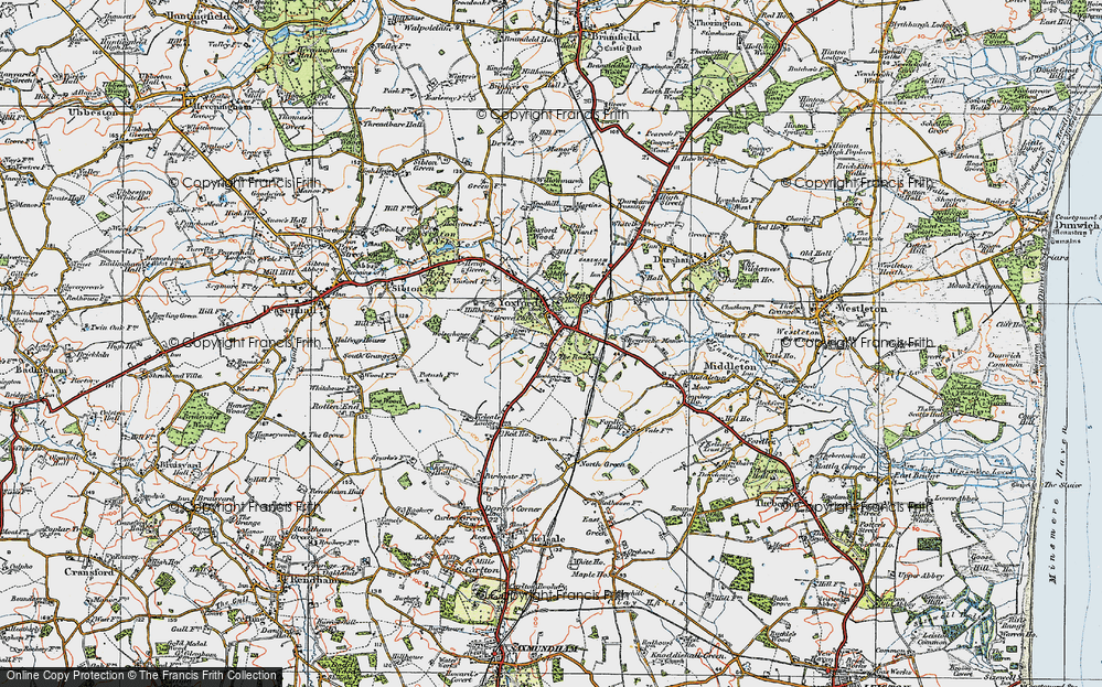 Old Map of Yoxford, 1921 in 1921