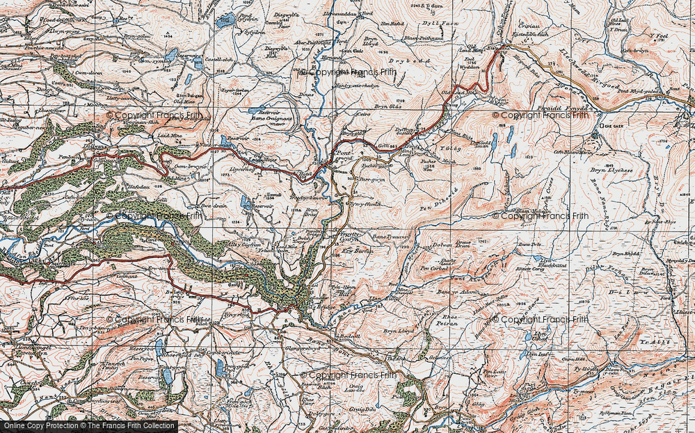 Old Map of Historic Map covering Afon Merin in 1922