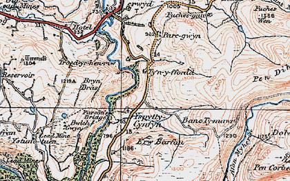 Old map of Afon Merin in 1922