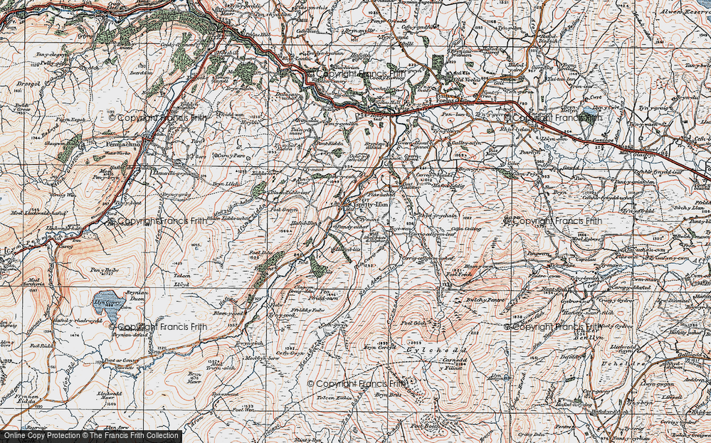 Old Map of Historic Map covering Afon Caletwr in 1922