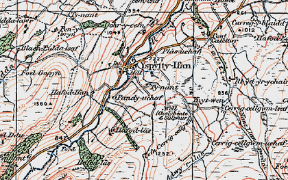 Old map of Ysbyty Ifan in 1922