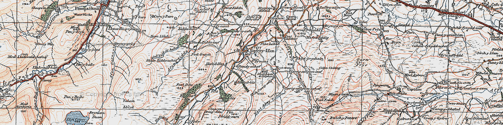 Old map of Afon Caletwr in 1922