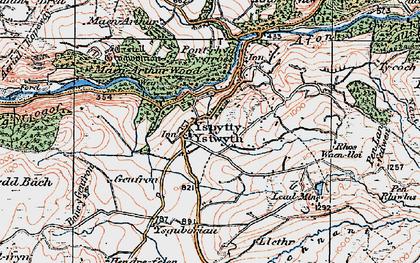 Old map of Ysbyty Ystwyth in 1922