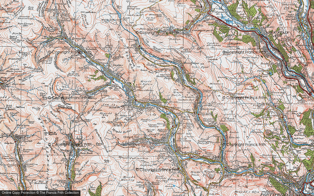 Old Map of Ystrad, 1923 in 1923