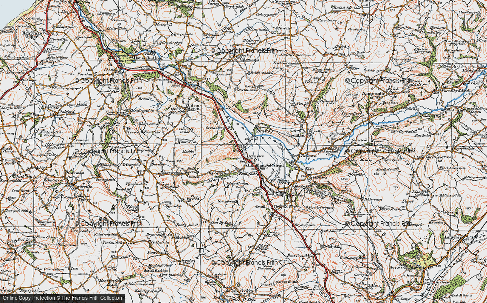 Old Map of Historic Map covering Allt y Fron in 1923
