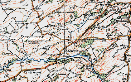 Old map of Ystrad Uchaf in 1921