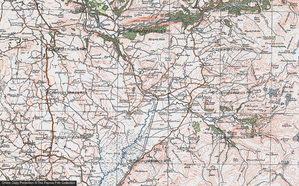 Old Map of Historic Map covering Afon Meurig in 1922
