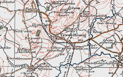 Old map of Ystradmeurig in 1922