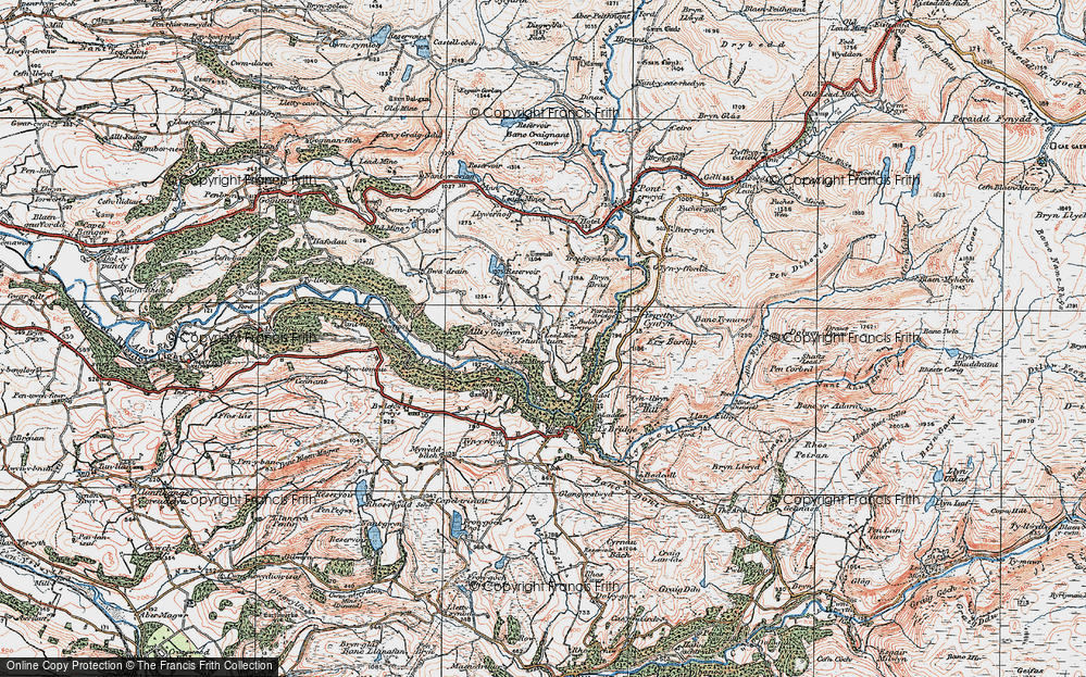 Old Map of Historic Map covering Afon Rheidol in 1922