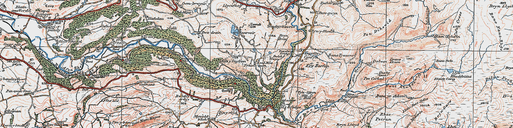 Old map of Allt-y-Gigfran in 1922