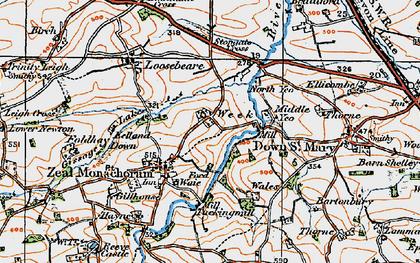 Old map of Zeal Monachorum in 1919