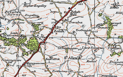 Old map of Zelah Hill in 1919