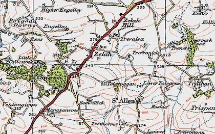Old map of Zelah in 1919