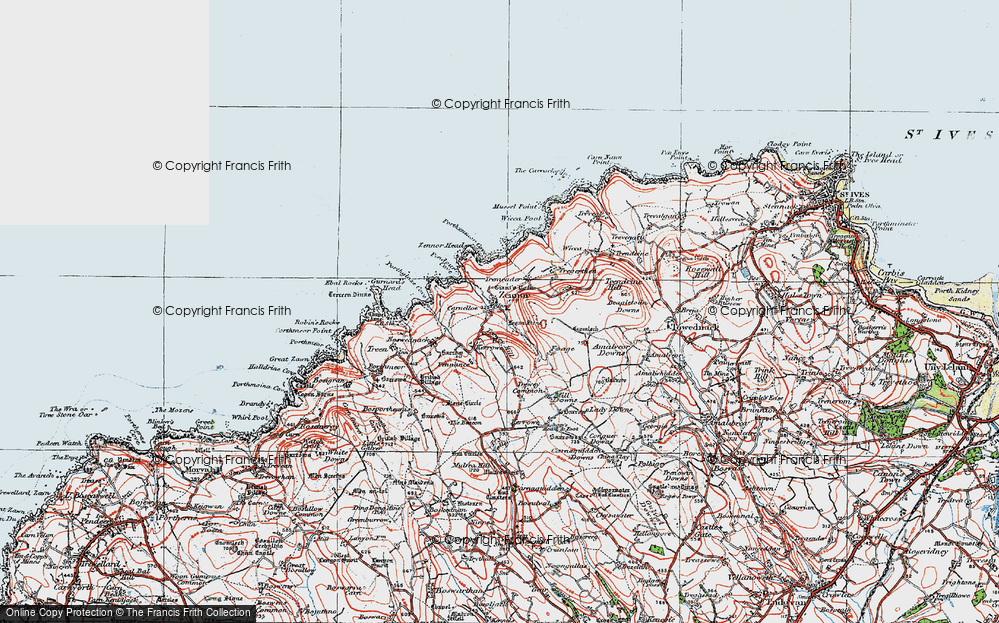 Old Map of Zennor, 1919 in 1919