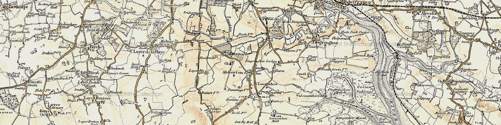 Old map of Abberton in 1898-1899