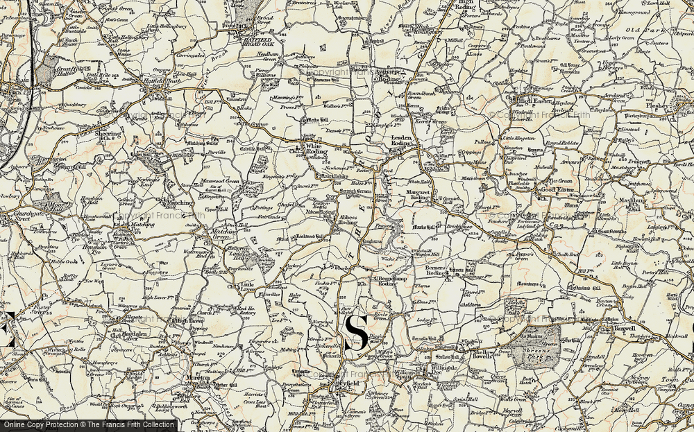 Old Map of Abbess Roding, 1898 in 1898