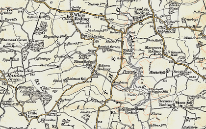 Old map of Abbess Roding in 1898