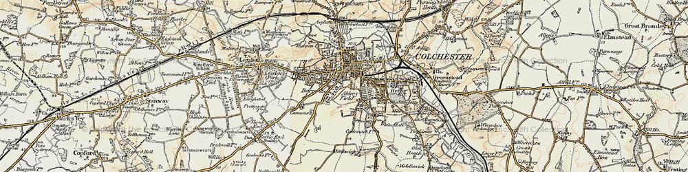 Old map of Abbey Field in 1898-1899