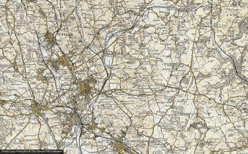 Old Map of Abbey Hulton, 1902 in 1902