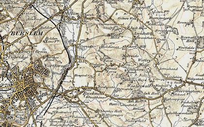Old map of Abbey Hulton in 1902