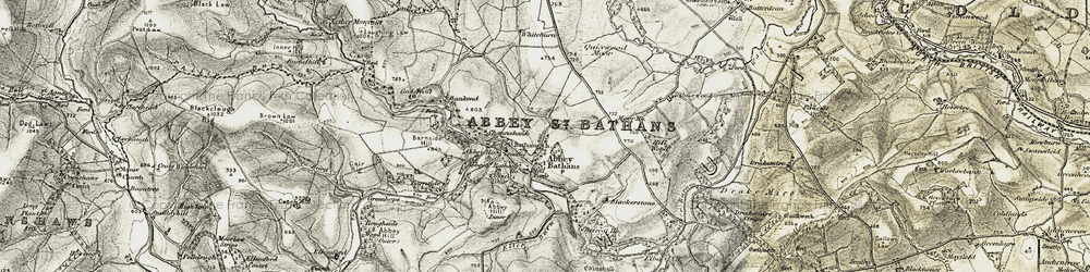 Old map of Abbey St Bathans in 1901-1904