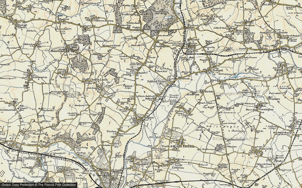 Old Map of Abbot's Salford, 1899-1901 in 1899-1901